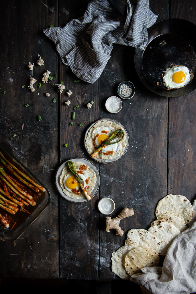 scallion kimchi egg tortillas | two red bowls