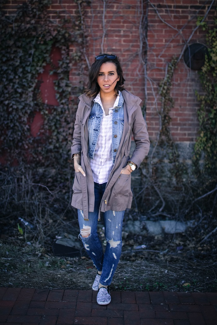 a viza style. andrea viza. fashion blogger. dc blogger. jcrew button down. current elliott stiletto jeans. joie sneakers. casual style. dc style. anorak jacket. 3