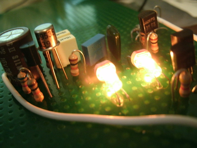 Incandescent lamps and photoresistors.
