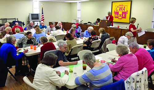 Members of CWA Local 3603 Retired Memvbers Chapter write letters and make phone calls to Rep. Alma Adams, (R-N.C.).