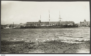 "Mawson's ship ""Discovery"" berthed at Port Adelaide. - Photograph courtesy of the State Library of South Australia"