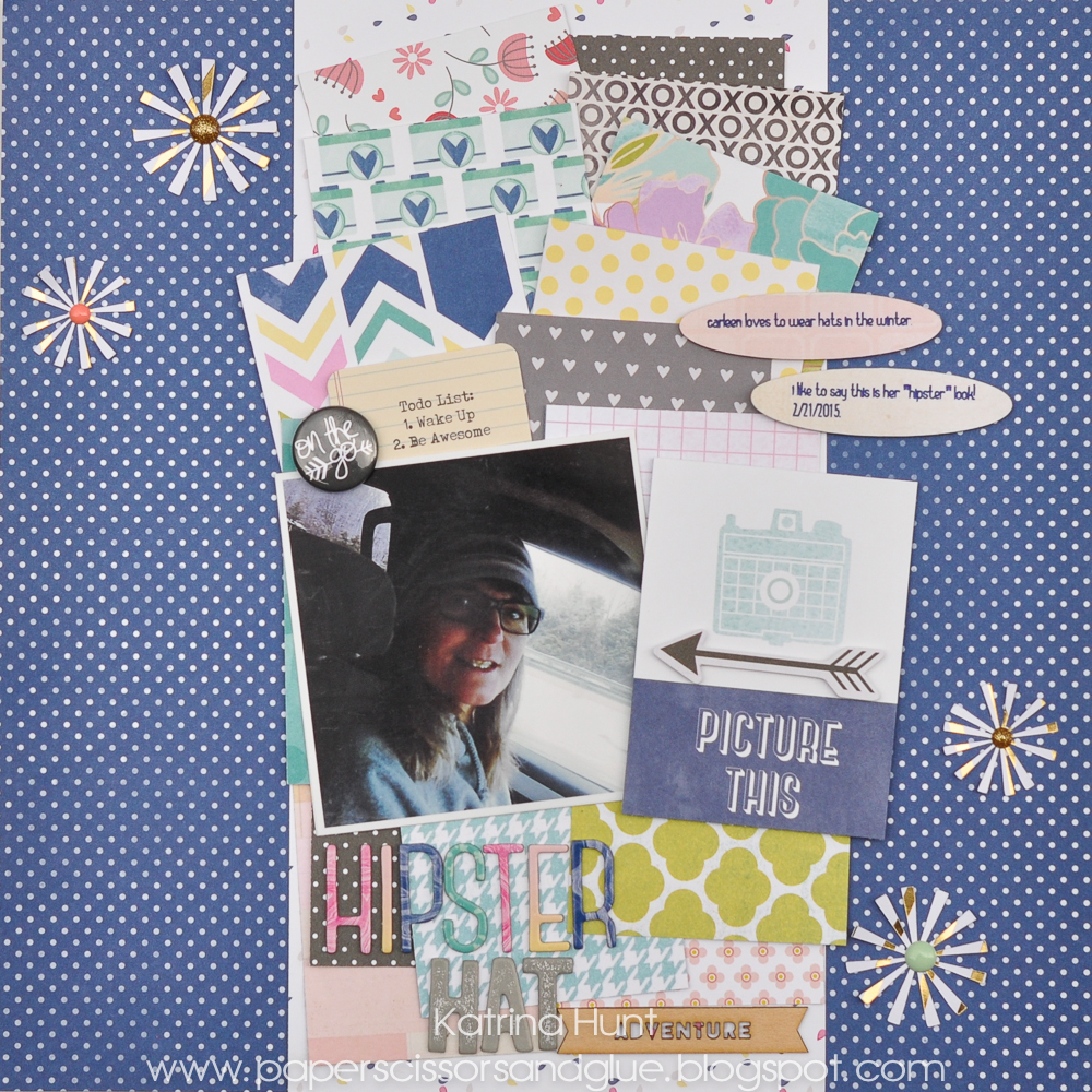 Hipster_Hat_Scrapbook_Page_Layout_Katrina_Hunt_Gossamer_Blue_American_Crafts_1000Signed-1