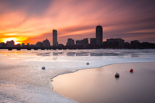 longexposure water sunrise photography snowy charlesriver icy buoys backbay bostonskyline neutraldensity leefilters canon6d graduatedfilters gregdubois