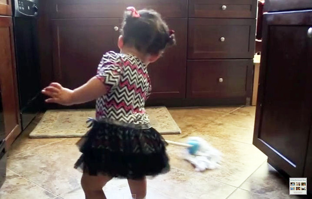 Mopping up a Spill at 16 Months