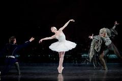 Matthew Golding as Prince Siegfried, Natalia Osipova as Odette and Gary Avis as Von Rothbart in Swan Lake.
