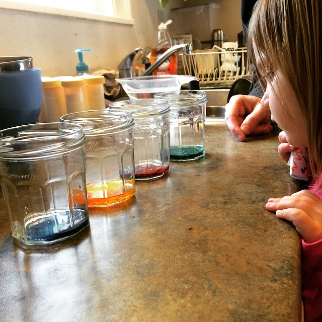 Getting ready to dye some eggs (yes, that's pumped milk in the background - we discovered a cache of VERY old stuff in our freezer and are thawing/dumping!)