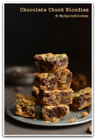 A stack of blondies in a plate