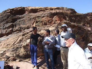 Mileat's apiary located on a rocky hillside in Wukro being visited by LIVES staff_Tigray (Photo: ILRI\LIVES)