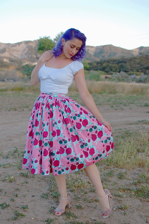 Pinup Girl Clothing Mary Blair Jenny skirt in Lips and Roses 011
