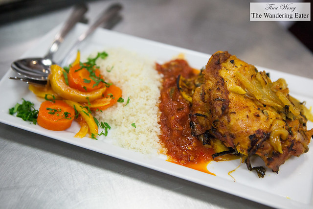 Plated Chicken tagine, couscous (made from scratch), pickled carrots by Chef Einat Admony
