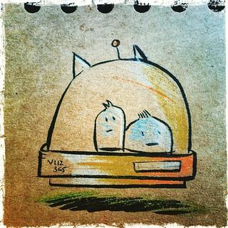 Visiblement, les deux explorateurs  étaient perdus #mtl #montreal #quebec #canada #ink #illustrations #sketch #draw #drawing #doodle #dailyillustrations_2015 #snapseed #instagramers #igersmontreal #igerscanada #polychromos #artistoninstagram #cartoon #com