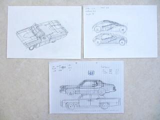 Car design drawings: movie cars