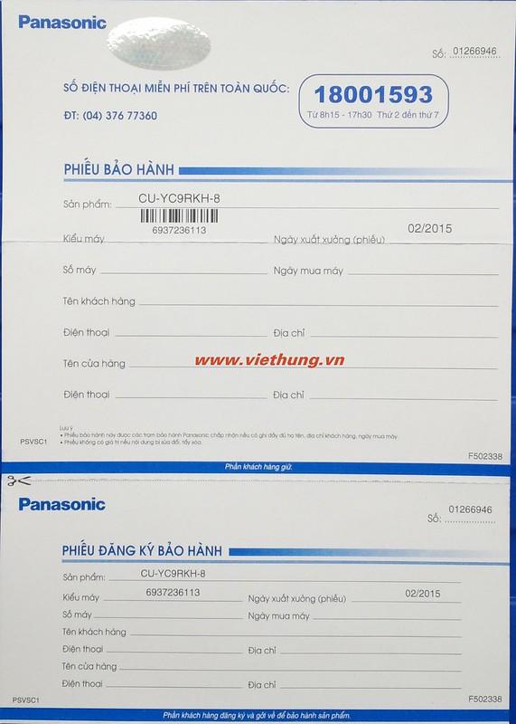 Giấy bảo hành Panasonic