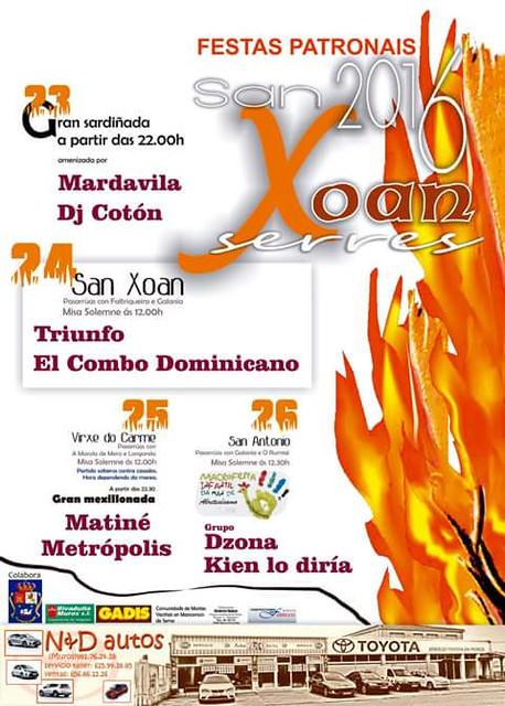 Muros 2016 - Festas de San Xoán en Serres - cartel