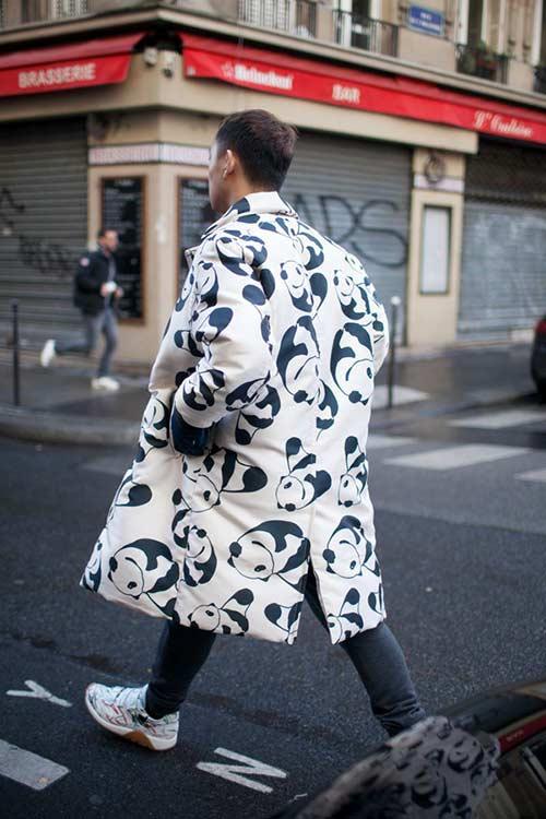 パンダパターンのコート
