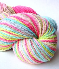 'Pinwheel' on mountain meadow merino wool