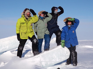 The ICE-MITT team poses out on the sea ice