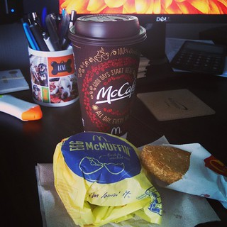 Because, somedays yogurt just doesn't cut it... #mickeyds #McDonalds #breakfast #eggmcmuffin #hashbrown #McCafe #foodstagram