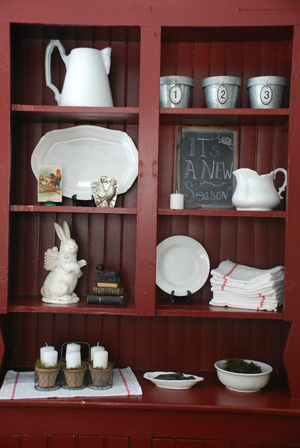 Vintage Cabinet Decorated For Spring