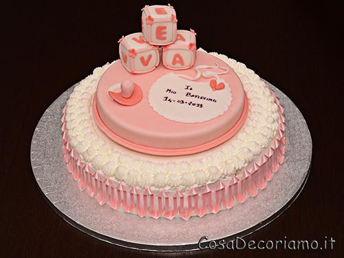 Torte - 49 - Torta Battesimo panna e pasta di zucchero