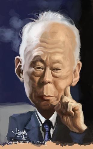 digital caricature of Lee Kuan Yew - 2