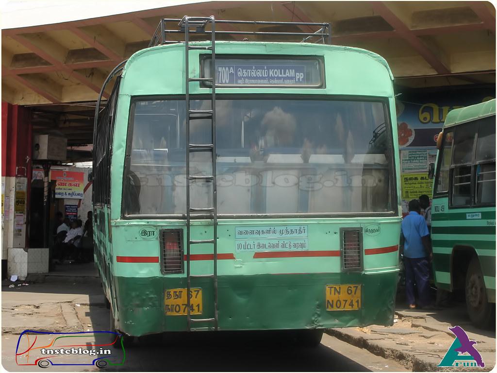 TN-67N-0741 of Rajapalayam Depot Route 700 A Madurai - Kollam.