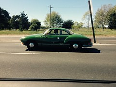 Karman Ghia, parallel w/ tail lights, Highway 80, south