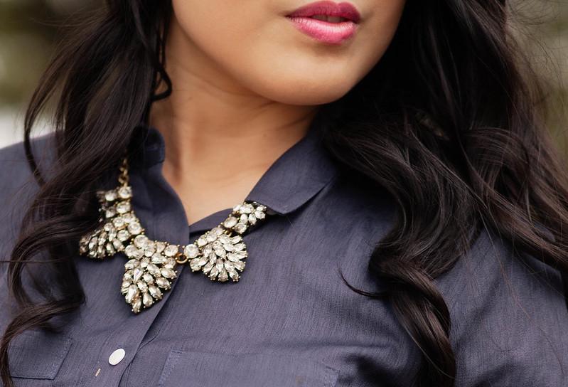 cute & little blog | petite fashion | loft navy button blouse, j.crew factory crystal statement necklace, mac lovelorn lipstick