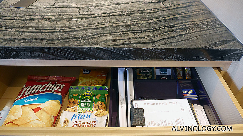 Snacks from the mini-bar