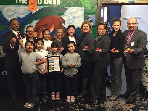 The Chicago Public Schools System has incorporated locally-grown produce into school menus, providing students with fresh, healthy food. (Administrator Anne Alonzo, 4th from right) USDA Photo Courtesy of Peter Wood.