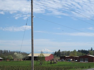Farm buildings, airplane on approach to PDX, distant hazy stratovolcano