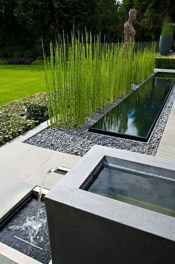 amenagement-jardin-moderne-étang-plantes-gazon ...
