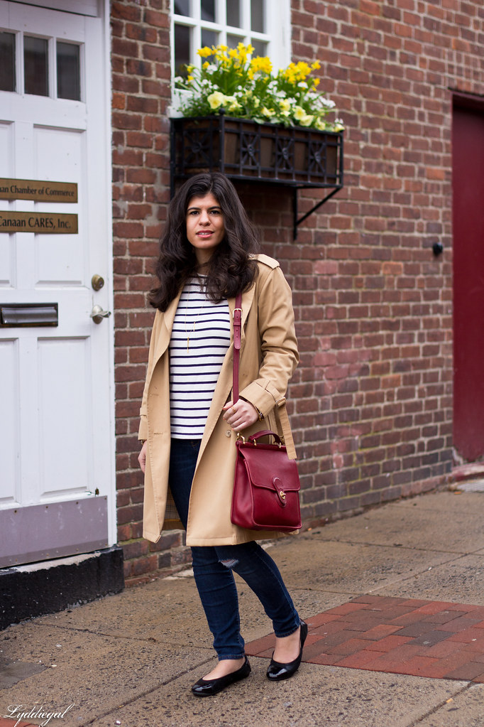 striped shirt, distressed denim, trench, red coach bag-1.jpg