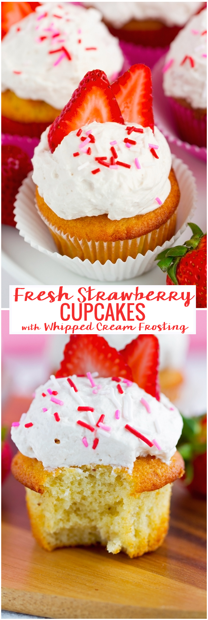 Fresh Strawberry Cupcakes with Whipped Cream - So good and so easy to make! Everyone is going to love these. #cupcakes #whippedcream #strawberrycupcakes   Littlespicejar.com