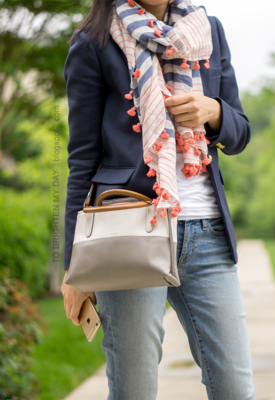 striped and pom pom scarf, navy blazer, colorblock crossbody bag, lightwash jeans