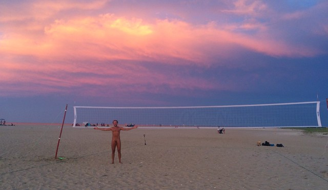 naturist volleyball 0001 Gunnison Beach, Sandy Hook, New Jersey, USA