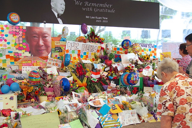 balloons, cards, flowers at the Singapore General Hospital after the death of Lee Kuan Yew