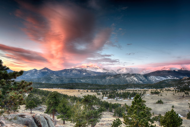 Sunrise over the Rocky Mountains in Rocky Mountain National Park, Colorado