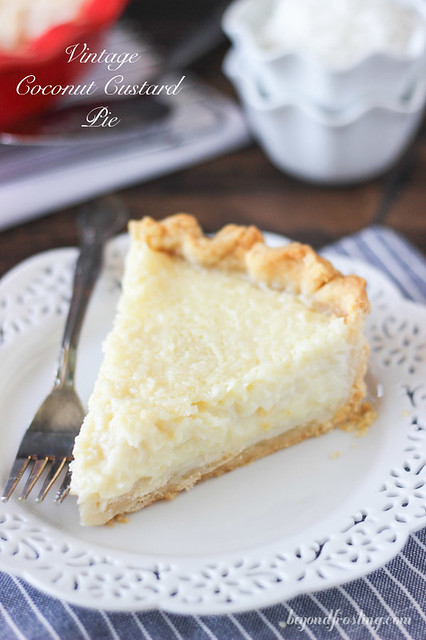 This Old Fashioned Coconut Custard Pie is  similar to what you would imagine a coconut crème brulee might be. The flaky pie crust is filled with loads of shredded coconut set in a baked custard.