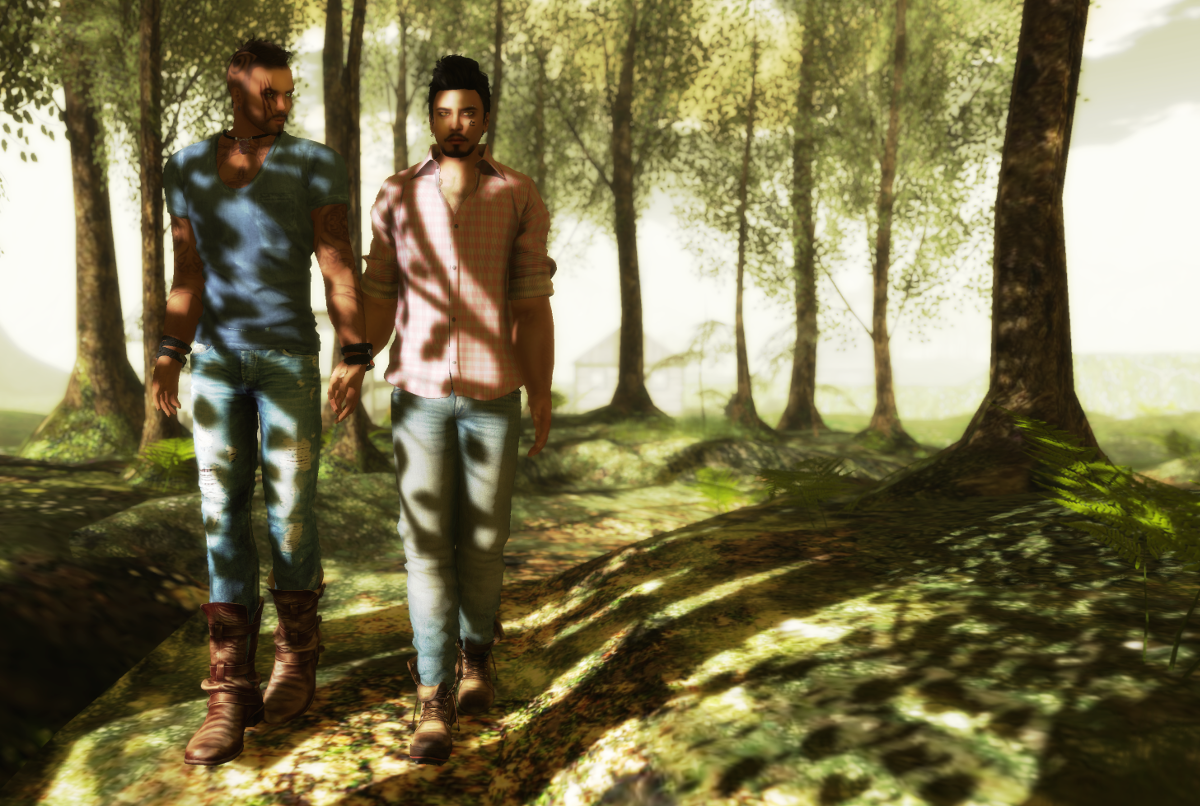 Randy and Ricco walking in the woods