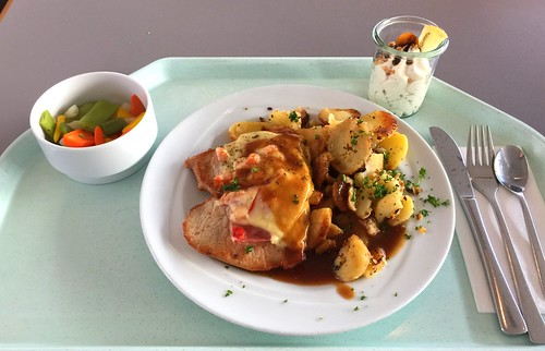 "Pork steak ""Tessin"" with fried potatoes / Schweinesteak ""Tessin"" mit Bratkartoffeln"