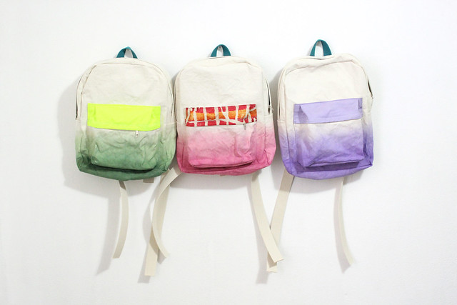 ziazia. dyed backpacks.