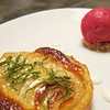 Local Pear and Frangipane Tart, Pomegranate Sorbet  #lunchprixfixe #dessert #pears #sorbet #almond by clbeischer
