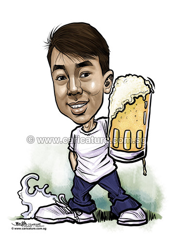 Gab digital caricature with beer for PropertyGuru (watermarked)