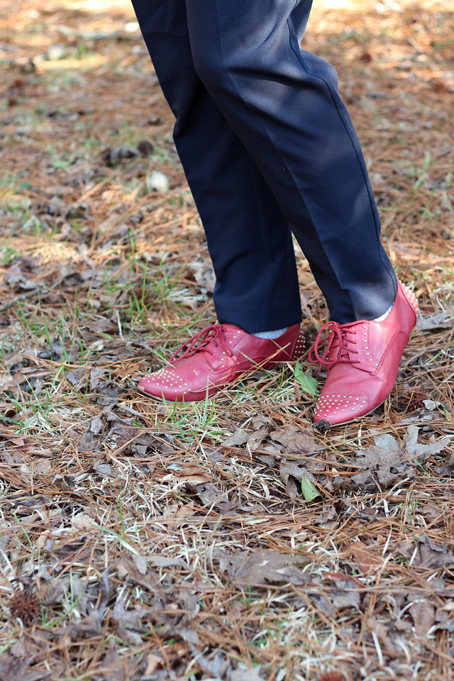 Red Studded Oxford Shoes and Blue Trousers