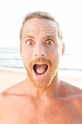 Close up of Shocked Handsome Bare Man
