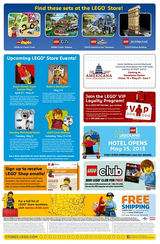 LEGO May 2015 Store Calendar