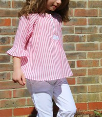 "Front-buttoned Smock tunic (view n) from the book ""Sew Chic Kids"" in size 4 (110 cm)"