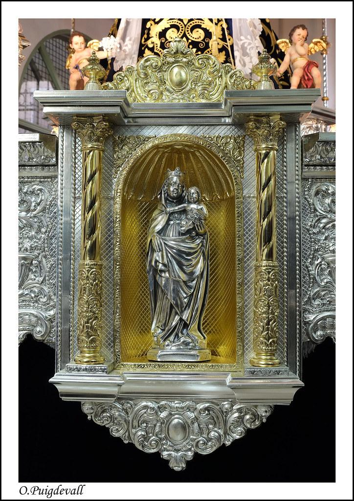 Virgen del Pilar en la greca del Paso de la Virgen de los Dolores de la Cofradía del Prendimiento