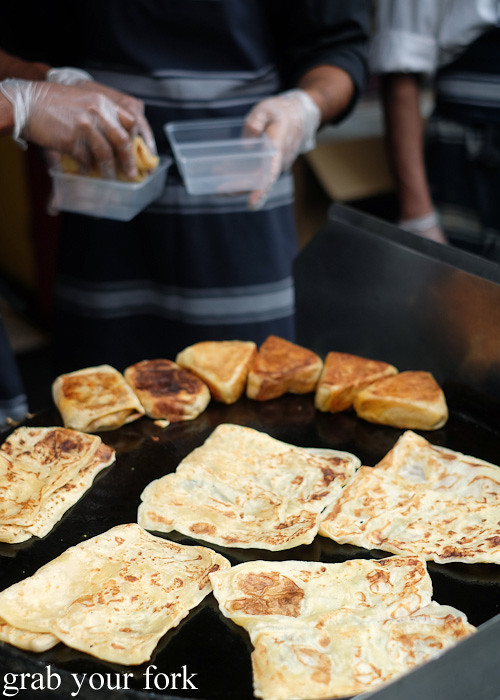 Roti and murtabak at the Cuba Dupa Festival 2015, Wellington